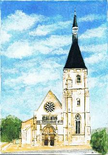 Eglise d'Anet (aquarelle P. Bazinet)
