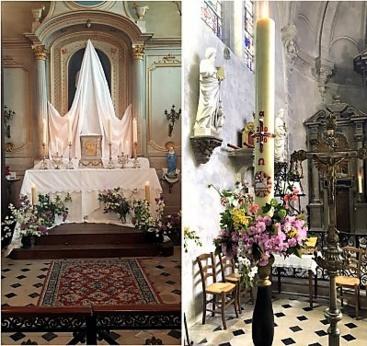 Autel du Jeudi Saint à Anet et cierge pascal 2020